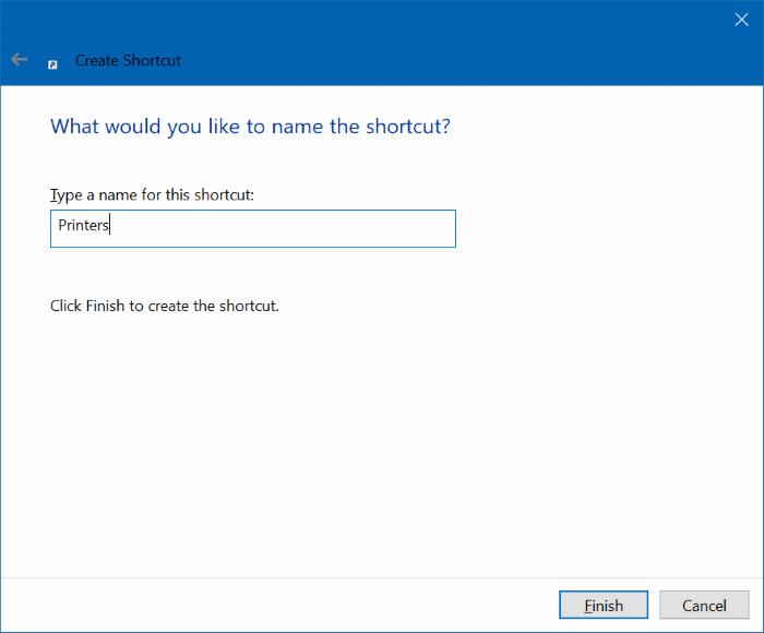 create desktop shortcut for printers folder in Windows 10 pic3