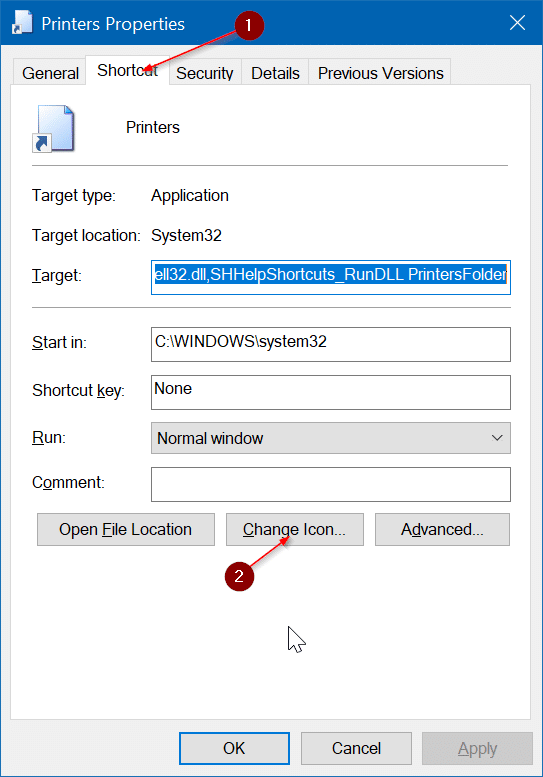 create desktop shortcut for printers folder in Windows 10 pic5
