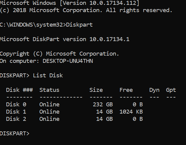 format USB flash drive via Command Prompt in Windows 10 pic2