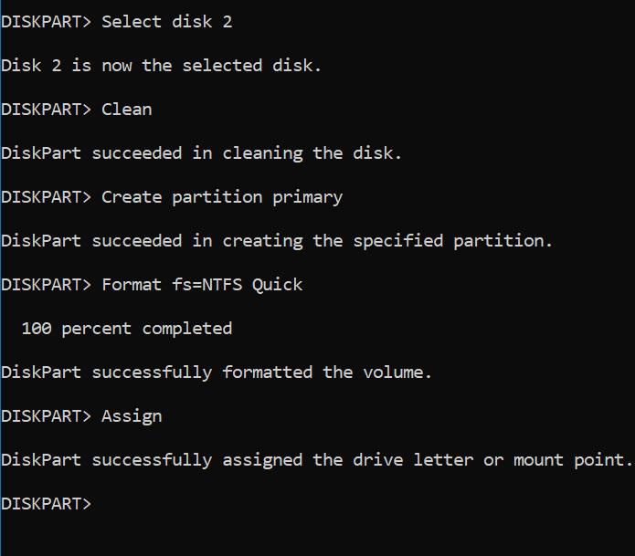 format USB flash drive via Command Prompt in Windows 10 pic3