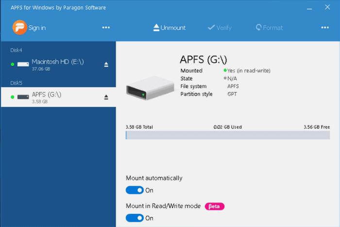 open APFS drives in Windows 10