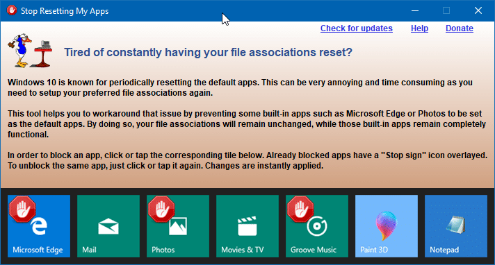 stop Windows 10 from automatically resetting default apps