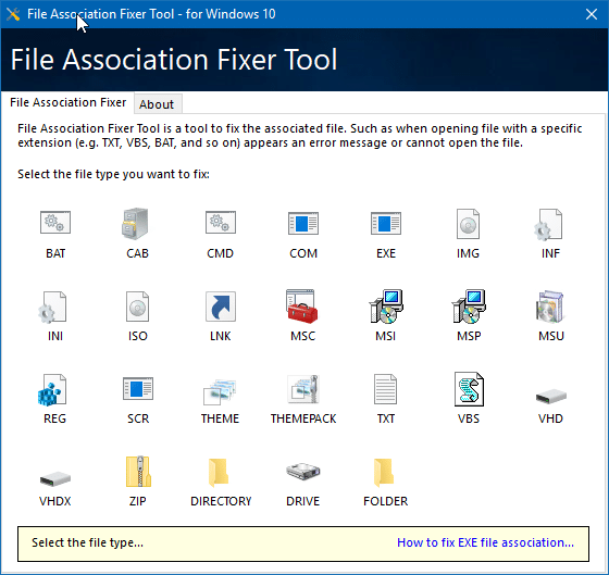 Download File Association Fixer Tool For Windows 10