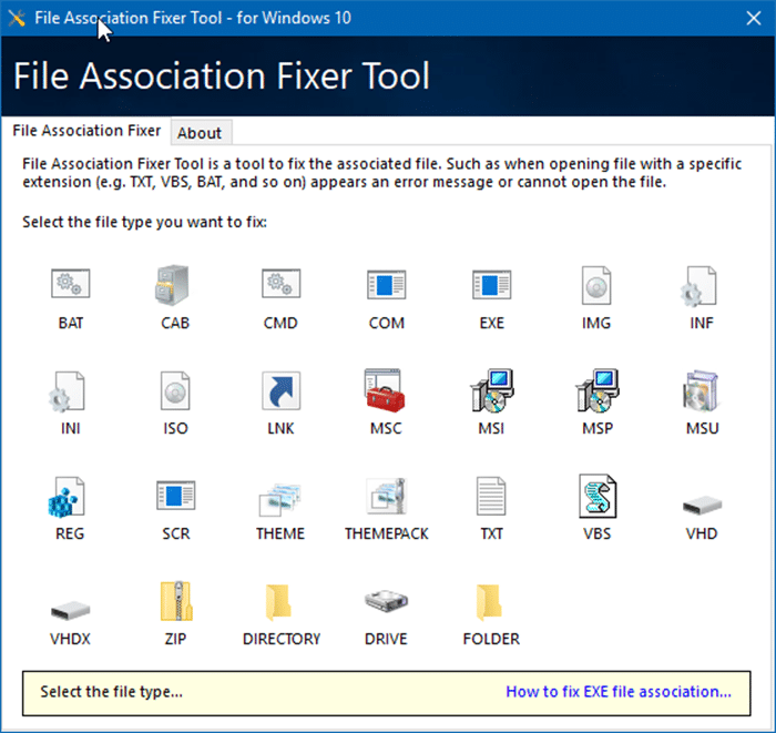 File association fixer tool for Windows 10