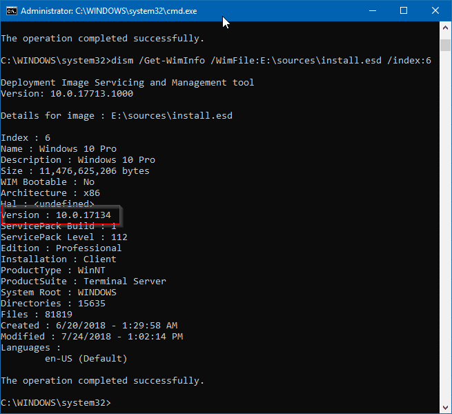 check windows 10 iso build number and edition pic1