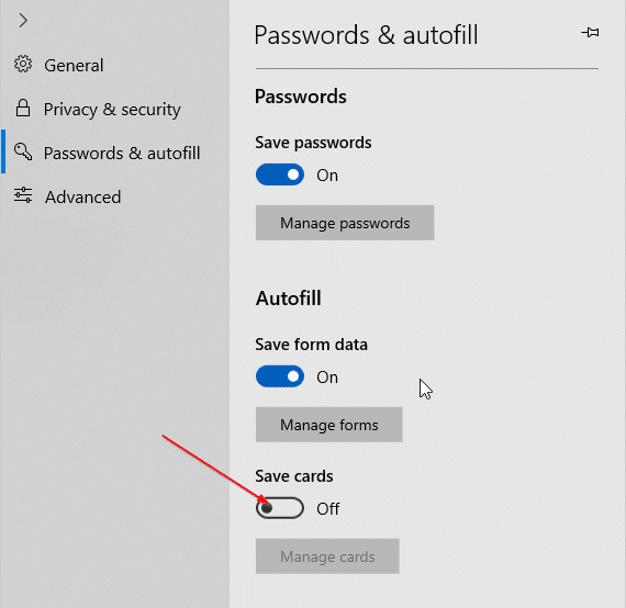 stop Edge from saving credit card information in Windows 10 pic4