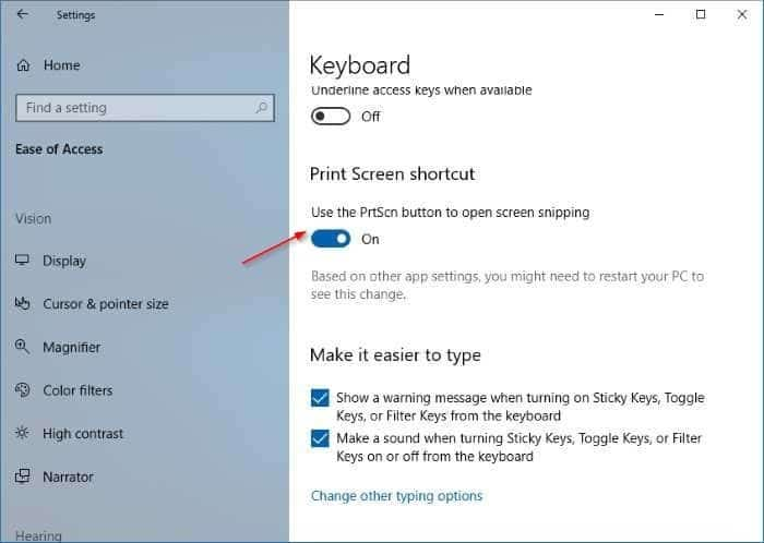use print screen key to open Screen Sketch in Windows 10