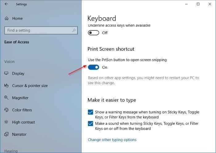 use print screen key to open Screen Sketch in Windows 10