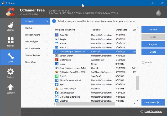 Uninstall programs that won't uninstall in Windows 10 pic3