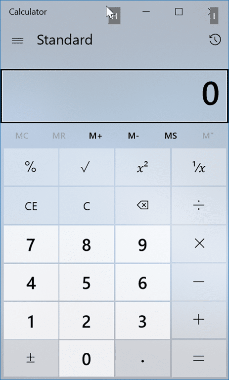 Windows 10 calculator app keyboard shortcuts