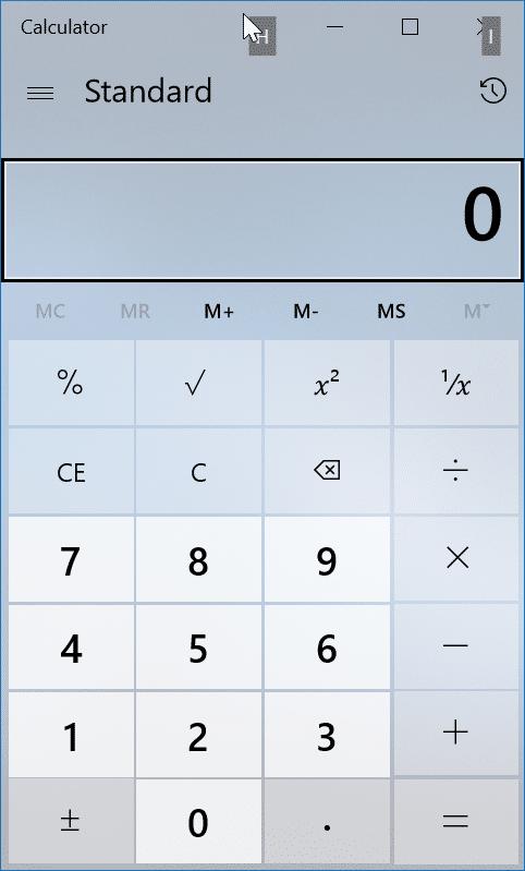 Windows 10 calculator app keyboard shortcuts