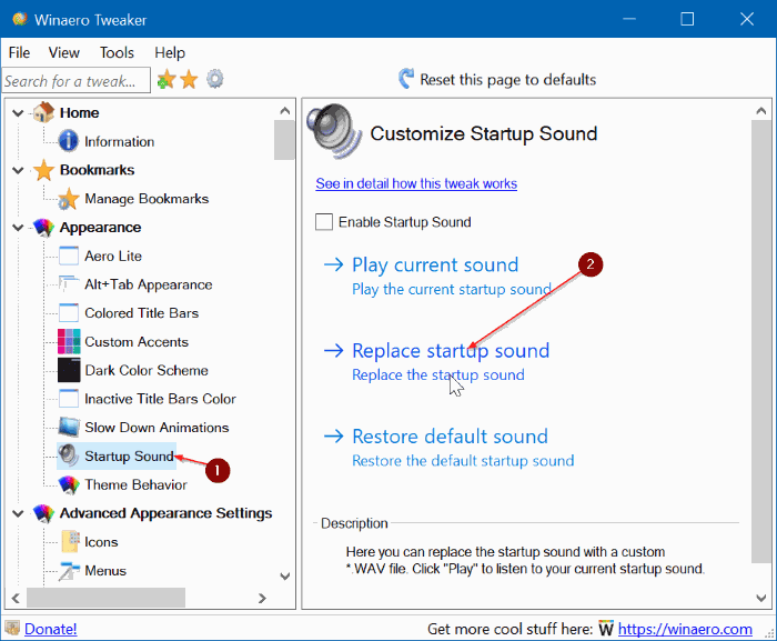 change windows 10 startup sound