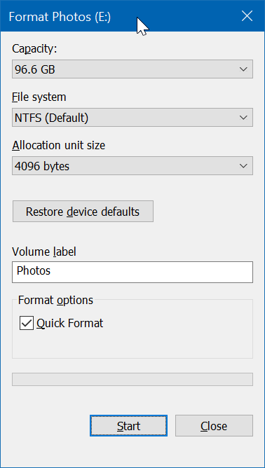 format drives or partitions in Windows 10 pic2