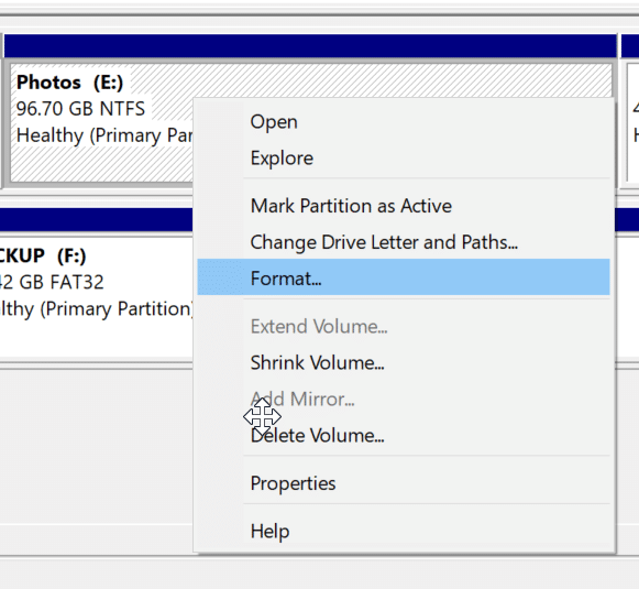 format drives or partitions in Windows 10 pic4