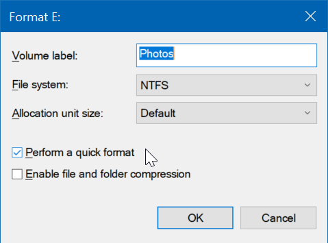 format drives or partitions in Windows 10 pic5