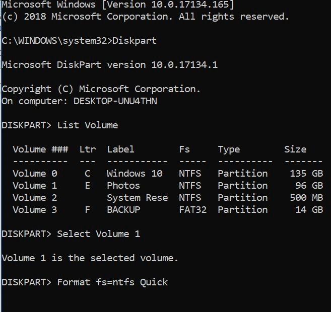 format drives or partitions in Windows 10 pic6