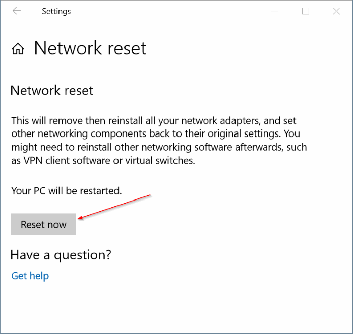 reset network settings in Windows 10 pic2