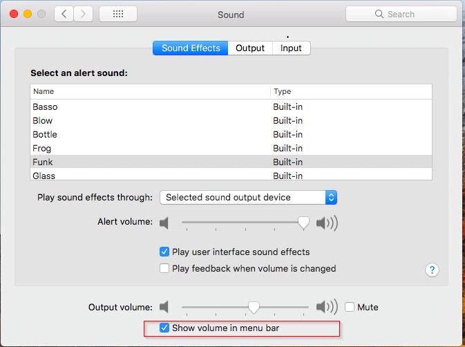 show volume icon on macos menu bar