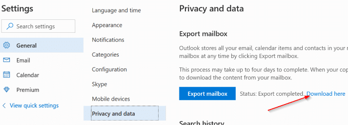download Outlook.com emails and contacts