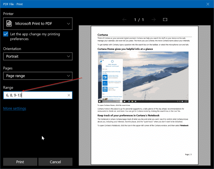 extract pages from PDF in Windows 10