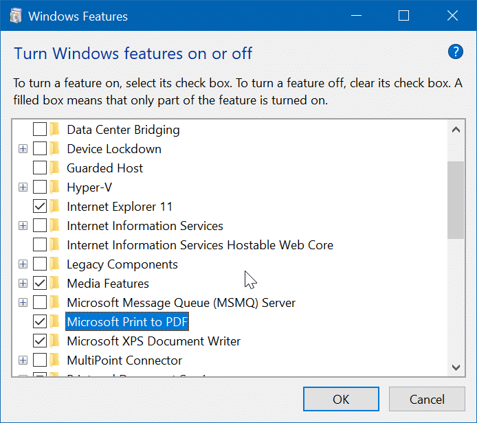 turn on or off Microsoft Print to PDF in Windows 10