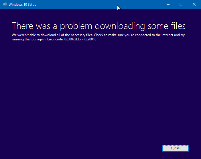 There was a problem downloading some files media creation tool error