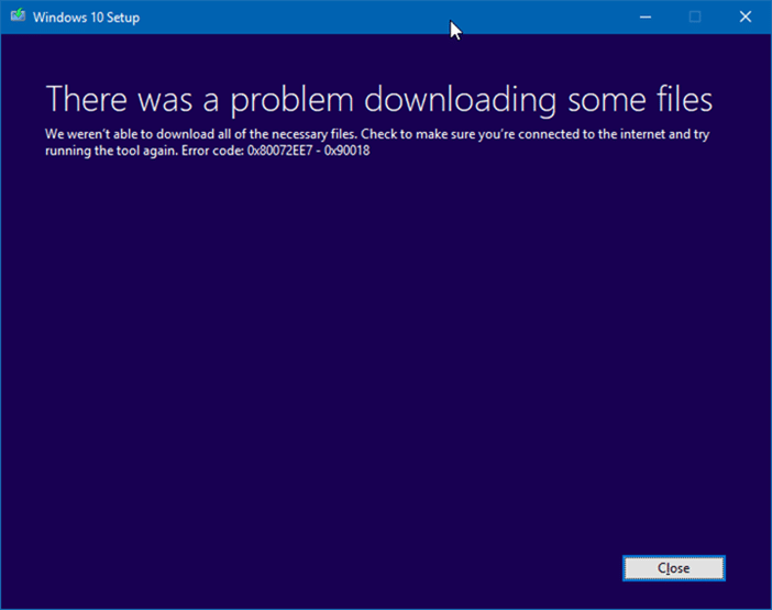 There was a problem downloading some files