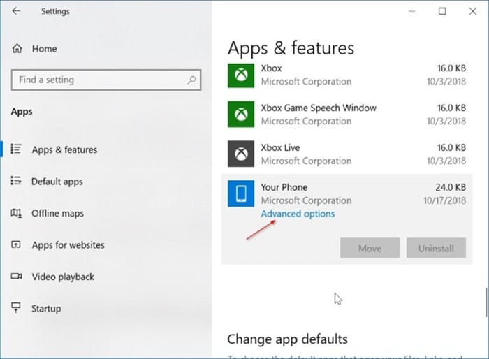 Uninstall or reinstall Your Phone app in Windows 10 pic5