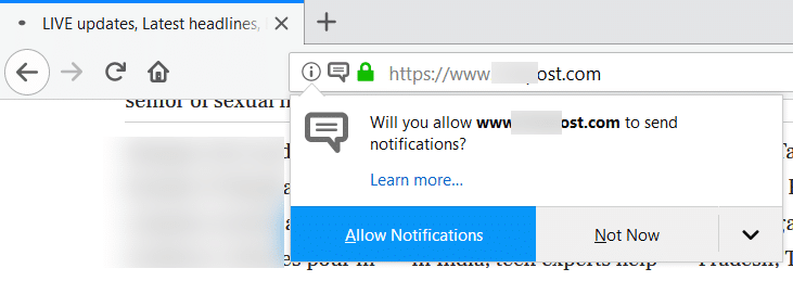 disable allow notifications in Firefox in Windows 10