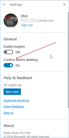 enable or disable delete confirmation in sticky notes in windows 10 pic2