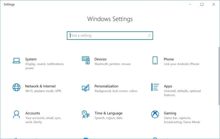 enable or disable settings and control panel in Windows 10