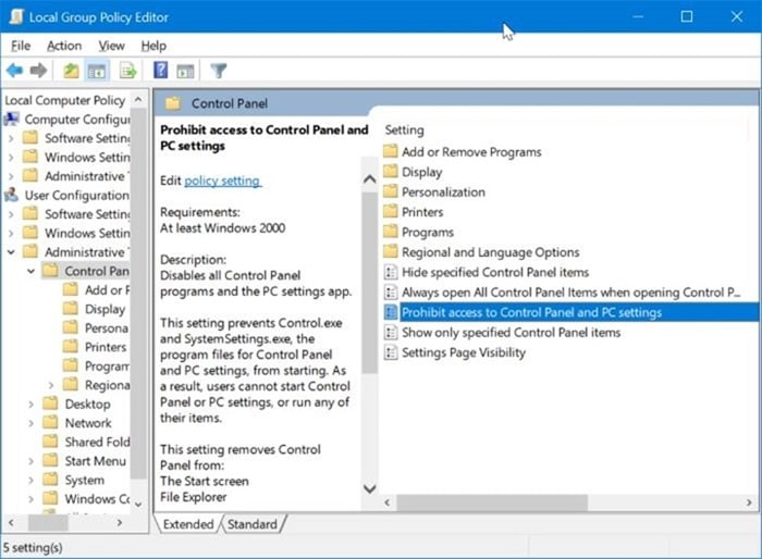 enable or disable settings and Control Panel in Windows 10 pic2