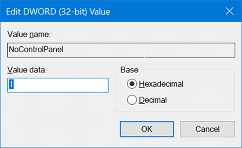 enable or disable settings and Control Panel in Windows 10 pic5