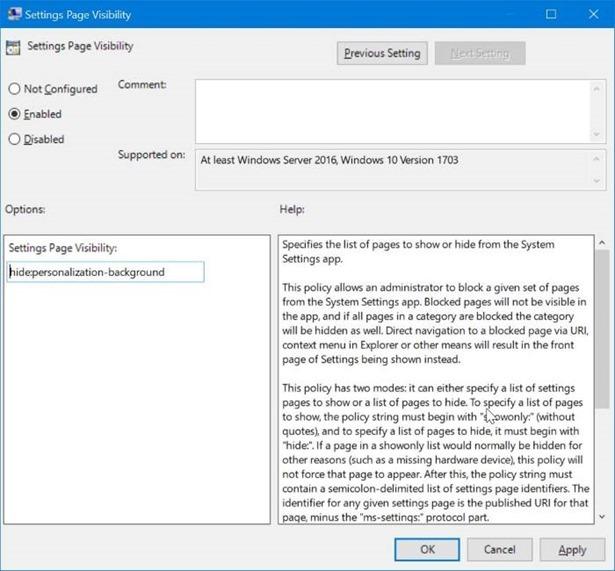 ẩn các trang cụ thể của ứng dụng Cài đặt trong Windows 10 pic2
