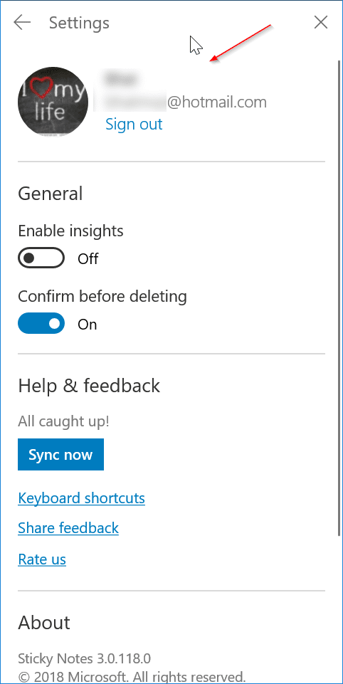 sticky notes doens't sync in windows 10 pic1