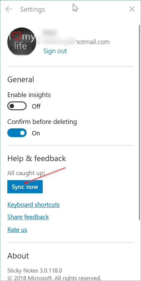 sticky notes doens't sync in windows 10 pic2