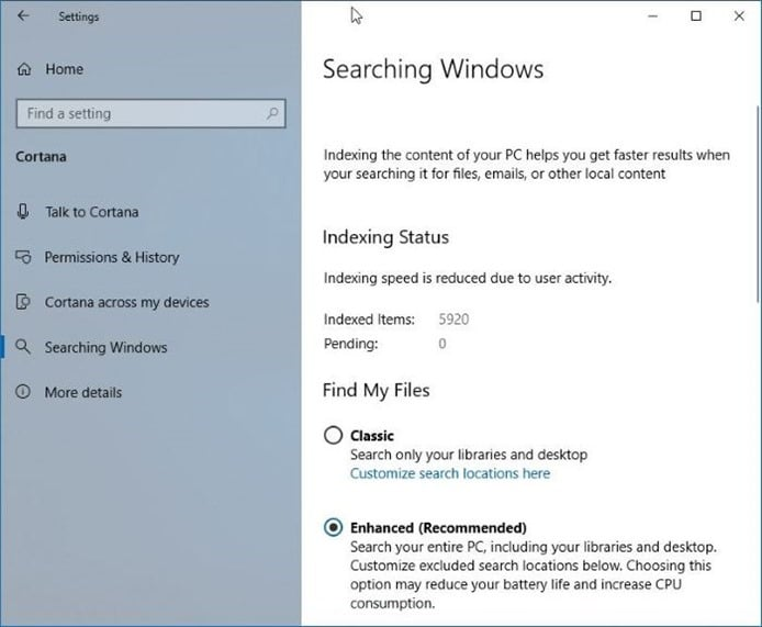enhanced mode for search index in windows 10
