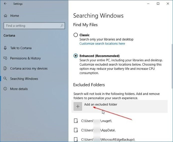 turn on or off enhanced mode for search indexer in windows 10 pic02