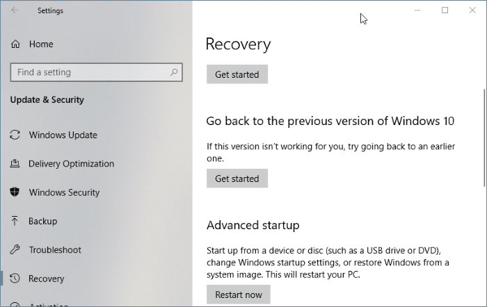 Go back to previous version of Windows 10 after 10 days (01)