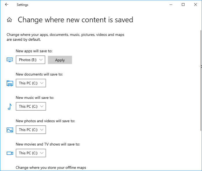 change download location of Windows Store apps in Windows 10 pic2