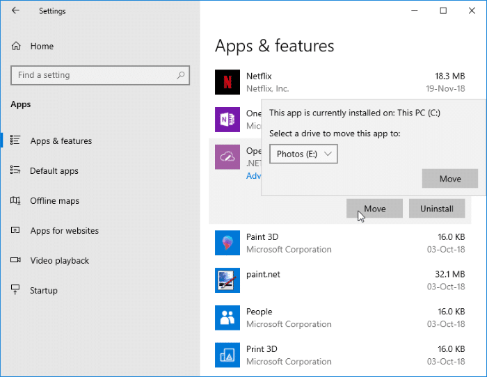 change download location of Windows Store apps in Windows 10 pic5
