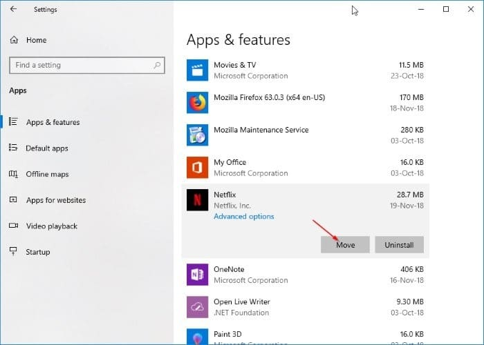 change netflix download location in Windows 10 pic2