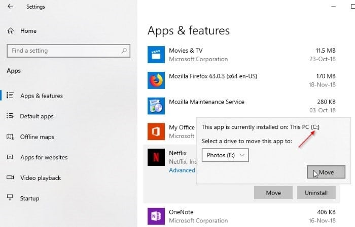 change netflix download location in Windows 10 pic4