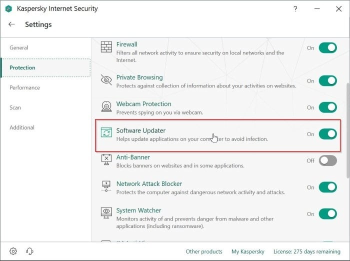 disable software updater in kaspersky