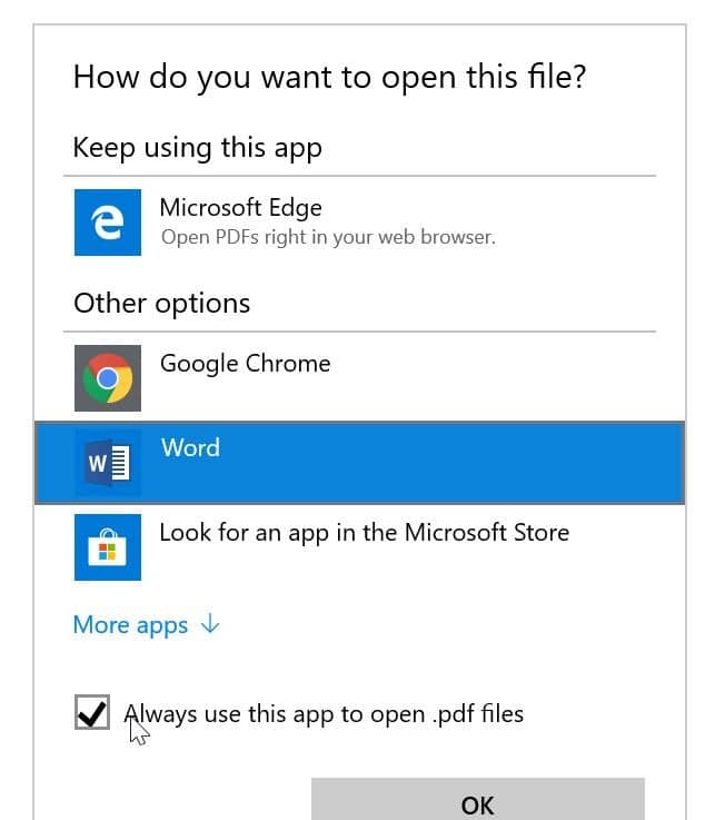 how to change program assignation to open document windows 10