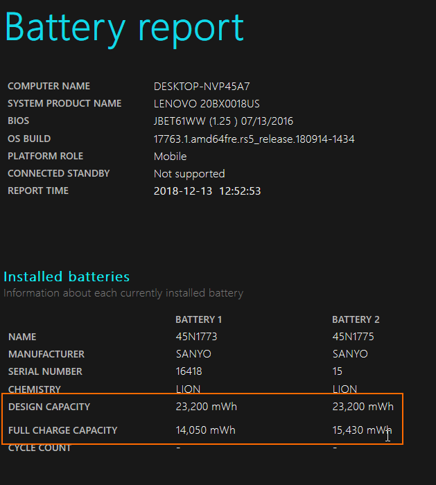 check the battery capacity in windows 10