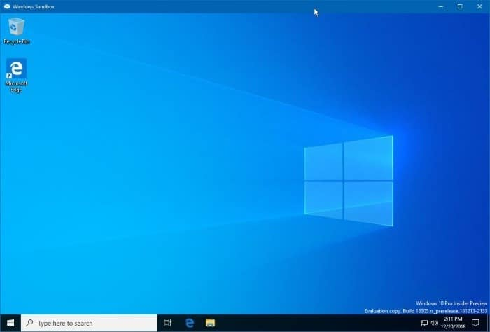 how to use Windows sandbox in windows 10 pic1