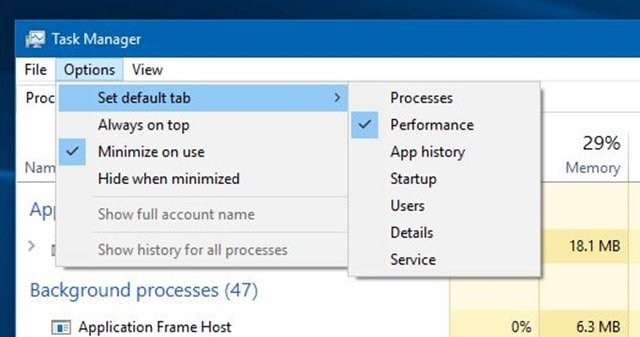 How to set the default tab in Task Manager