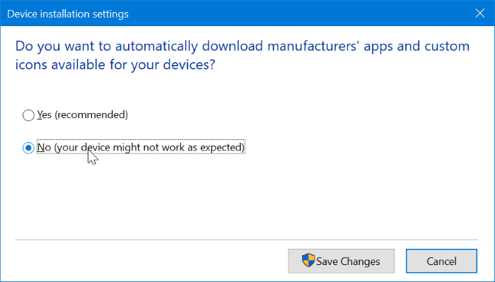 Stop Windows 10 from automatically installing printer and scanner app pic2