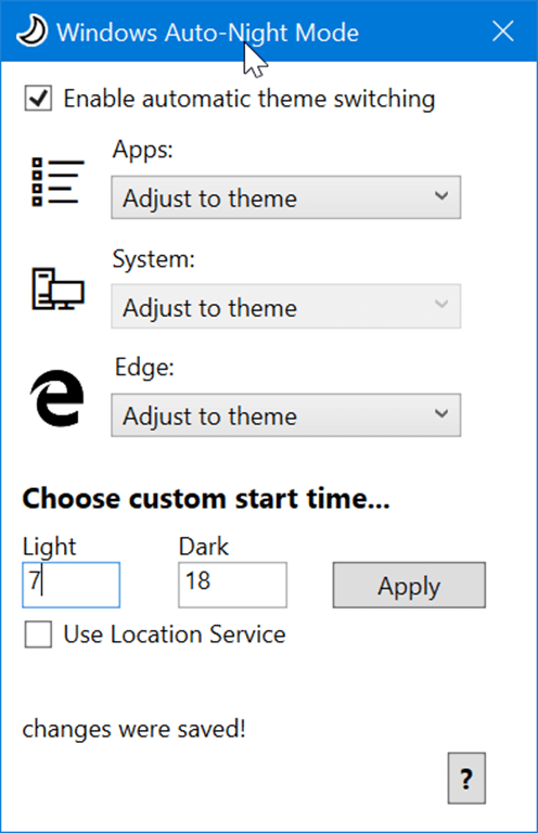 automatically switch between dark and light modes in Windows 10 pic1